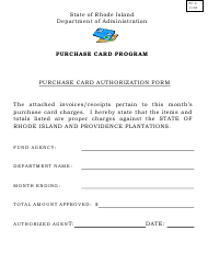 """Form PC-4 """"Purchase Card Authorization Form"""" - Rhode Island"""