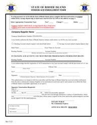 """Vendor ACH Enrollment Form"" - Rhode Island"