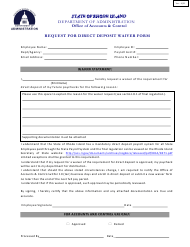 """""""Request for Direct Deposit Waiver Form"""" - Rhode Island"""