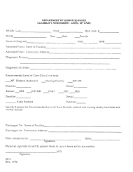 """Form CP-1 """"Eligibility Assessment: Level of Care"""" - Rhode Island"""
