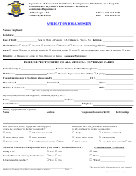 "Form DBH-303 ""Application for Admission"" - Rhode Island"