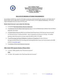 """Real Estate Broker/Attorney Application"" - Rhode Island"