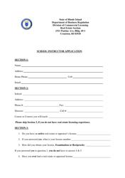 """School Instructor Application"" - Rhode Island"