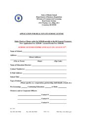 """Application for Real Estate School License"" - Rhode Island"