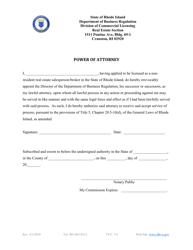 """Non-resident Power of Attorney Form - Broker/Salesperson"" - Rhode Island"