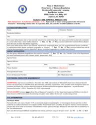 """Real Estate Renewal Application"" - Rhode Island"