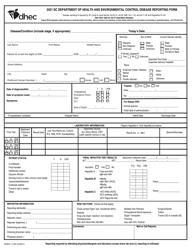 "DHEC Form 1129 ""Control Disease Reporting Form"" - South Carolina, 2021"