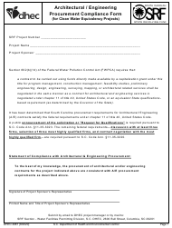 """DHEC Form 4087 """"Architectural/Engineering Procurement Compliance Form (For Clean Water Equivalency Projects)"""" - South Carolina"""