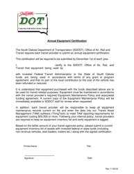 """Annual Equipment Certification"" - South Dakota"