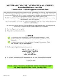 """South Dakota DHS Establishment Program Application"" - South Dakota"