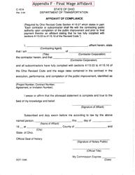 "Form C-151A (DOT-1346) Appendix F ""Final Wage Affidavit"" - Ohio"