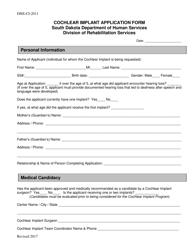 "Form DHS-CI-2011 ""Cochlear Implant Application Form"" - South Dakota"