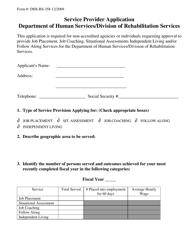 "Form DHS-RS-358 ""Service Provider Application"" - South Dakota"