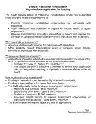 """Organizational Application for Funding - Board of Vocational Rehabilitation (Bvr)"" - South Dakota"
