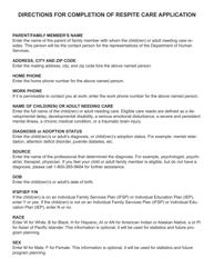 "Instructions for ""Application for Respite Care Program"" - South Dakota"