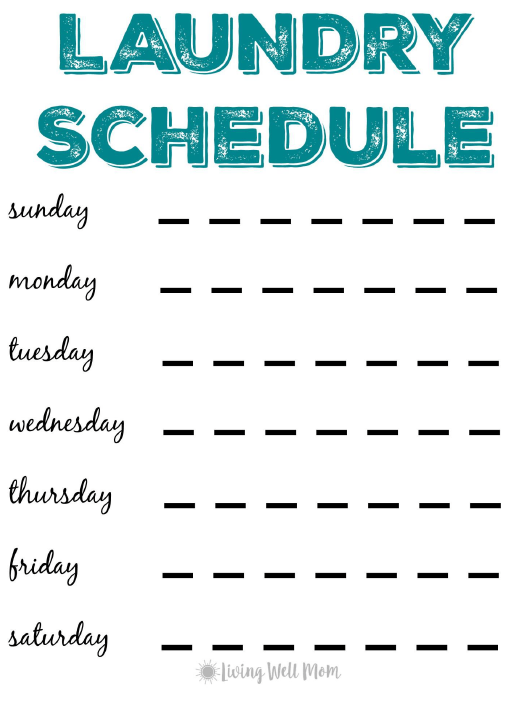 laundry schedule template living well printable pdf templateroller
