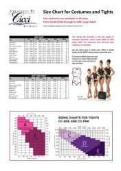 """Costumes and Tights Size Chart - Cicci Australia"" - Australia"