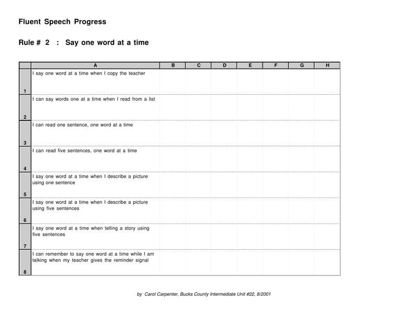 """""""Fluent Speech Progress Tracking Sheet Template - Rule 2 - Carol Carpenter"""" Download Pdf"""