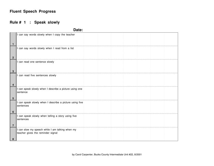 """""""Fluent Speech Progress Tracking Sheet Template - Rule 1 - Carol Carpenter"""" Download Pdf"""