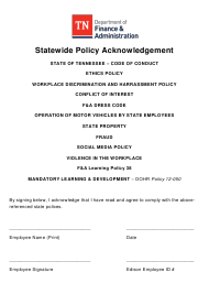 """""""Statewide Policy Acknowledgement"""" - Tennessee"""