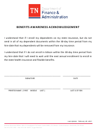 """""""Benefits Awareness Acknowledgement"""" - Tennessee"""