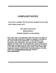 """Complaint Notice"" - Texas"