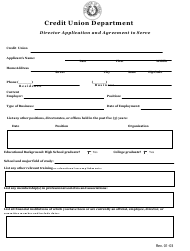 """""""Director Application and Agreement to Serve"""" - Texas"""