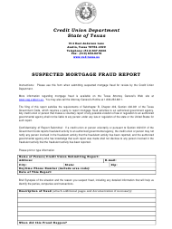 """""""Suspected Mortgage Fraud Report"""" - Texas"""