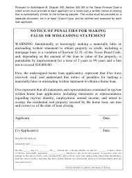 """""""Notice of Penalties for Making False or Misleading Statement"""" - Texas"""