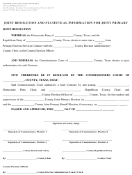 """Form JRC """"Joint Resolution and Statistical Information for Joint Primary"""" - Texas"""