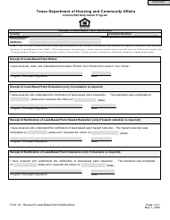 """Form 10 """"Receipt of Lead-Based Paint Notification"""" - Texas"""