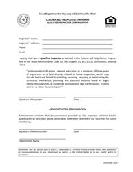 """Qualified Inspector Certification - Colonia Self-help Center Program"" - Texas"