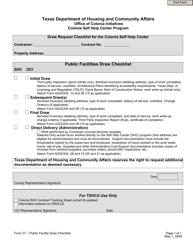 """Form 27 """"Public Facilities Draw Checklist"""" - Texas"""
