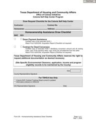 "Form 26 ""Homeownership Assistance Draw Checklist"" - Texas"