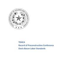 """Record of Preconstruction Conference Davis-Bacon Labor Standards"" - Texas"
