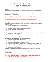 """Training Grant Application - Court Improvement Program"" - South Dakota"