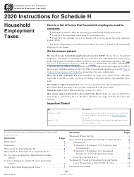 """Instructions for IRS Form 1040 Schedule H """"Household Employment Taxes"""", 2020"""