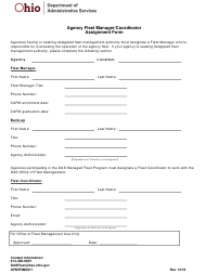 """Form OFMFRM0017 """"Agency Fleet Manager/Coordinator Assignment Form"""" - Ohio"""