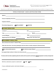 """Form OFMFRM0027 """"Vehicle Purchase/Lease Justification Form"""" - Ohio"""