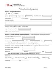 "Form OFMFRM0005 ""Vehicle Location Designation"" - Ohio"