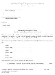 """""""Motion for Enforcement of Non-custodial Parent Visitation Rights"""" - Oklahoma"""