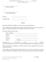 """""""Order for Enforcement of Non-custodial Parent Visitation Rights"""" - Oklahoma"""