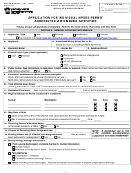 """Form 5600-PM-BMP0032 """"Application for Individual Npdes Permit Associated With Mining Activities"""" - Pennsylvania"""