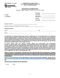 "Form 5600-FM-BMP0086 ""Small Noncoal Blast Plan"" - Pennsylvania"
