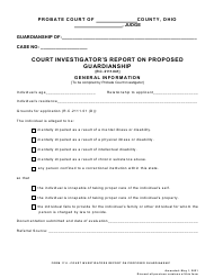 "Form 17.8 ""Court Investigator's Report on Proposed Guardianship"" - Ohio"
