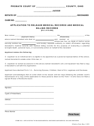"""Form 29.0 """"Application to Release Medical Records and Medical Billing Records"""" - Ohio"""
