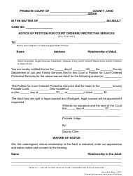 """Form 23.1 """"Notice of Petition for Court Ordered Protective Services"""" - Ohio"""