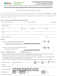 """""""Application for New Agricultural Fertilizer Applicator Certificate"""" - Ohio, 2024"""