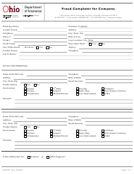 "Form INS0100 ""Fraud Complaint for Company"" - Ohio"