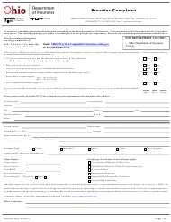 "Form INS0505 ""Provider Complaint"" - Ohio"